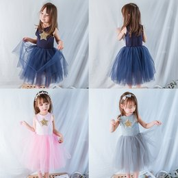 Kinderkleidung pullover online-Kinder Mädchen Sterne Prinzessin Kleider Ärmellose Spitze Mesh TUTU Jumper Rock Kinder Designer Kleidung Mädchen Party Peform Kostüm Prinzessin Kleid 1-6 T
