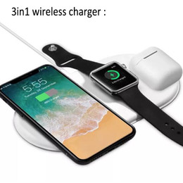 2019 sumsang mobile Carregador sem fio AirPower Triple Q1 3 em 1 para iPhone X 8 Plus Airpods iWatch e Samsung Note 8 S8 Plus S10 com pacote de varejo