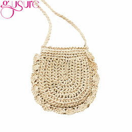 Соломенное ткачество онлайн-Gusure New Simple Women Hand Woven Straw Bucket Bags Sling Crossbody Shoulder Bag Weaving Summer Travel Beach Messenger Bags