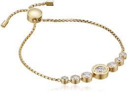 Bracelet fleur or rose en Ligne-Nouveau Designer Rose Argent / Or 18K Mode Fleur Cristal Réglable Slider Dames Bracelet Pour Femmes Bijoux Beau Cadeau Sans boîte