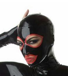 Maschera di catsuit online-Occhi rossi Maschera in lattice Cappuccio in gomma con cerniera posteriore per costumi Catsuit Party Wear 0.4mm