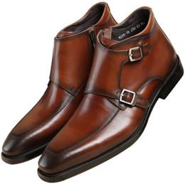 2019 mens tobillo botas correas Moda Negro / Tanque Doble Monk Correa Botines Zapatos de vestir para hombre Botas de cuero genuino Zapatos de boda masculinos rebajas mens tobillo botas correas