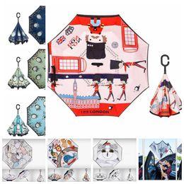 Anime schirme online-Cartoon Totoro Reverse Umbrella Totoro Inverted Reverse Automatic Umbrella Totoro Anime Rain Women Parasol Umbrella LJJK1522