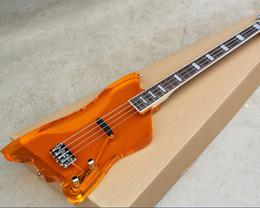4 струны Акриловое стекло Оранжевый электрический бас с одним пикапом, накладка из розового дерева с белым переплетом, предлагая индивидуальные услуги от Поставщики темно-коричневый шарф