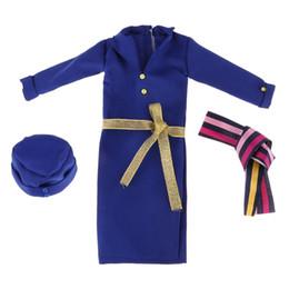 Elegante abito da sera online-Elegante 1/3 BJD Doll Clothes Assistente di volo uniforme - Long Dress Cap Belt Outfit per la notte Lolita BJD Fashion Girl Doll