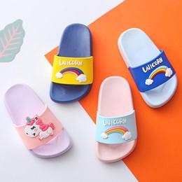 2019 прилив мультфильм единорог юниор обувь пвх массажные тапочки детские пляжные тапочки детская уличная обувь для защиты ног от