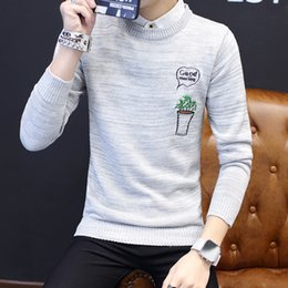 5a9331eafe58d Turtleneck Clothes 2019 Classic Simplicity Pullover Sweater Men Striped  Long Sleeves Embroidery Casual Mens Sweaters Free Ship striped turtleneck  sweater ...