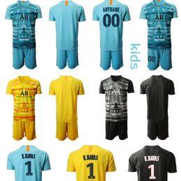 Ropa de niños franceses online-French Ligue 1 Paris Saint Germain PSG personalizado 1. portero K.NAVAS Niños equipos de fútbol de los jerseys del fútbol camisa de futebol muchachos de la ropa