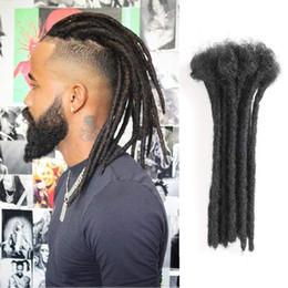 rastas tejen pelo Rebajas 100% extensiones de rastas para cabello humano hechas a mano 8 12 pulgadas para el estilo Hip-Hop 10Bundle / Lot Natual Negro Color sólido de la cultura Reggae para hombres