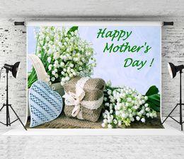 flores de vinil fotografia de fundo Desconto Sonho 7x5ft Mother 'Day Backdrop Flores Brancas Fotografia de Fundo para o Dia das Mães Partido Shoot Vinyl Studio Backdrops Prop