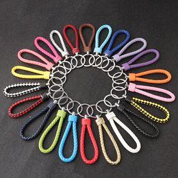 anel mercedes benz Desconto Corrente chave de couro Mercedes-Benz BMW couro tecido cordão keychain com anel de metal para carro / escritório / tecla home (16 cores)