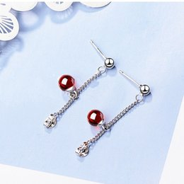 crystal ball ear stud Coupons - New Arrival Girls Gifts Party Wedding Stud Earring Ball Pink Burgundy Crystal Ear Jewelry