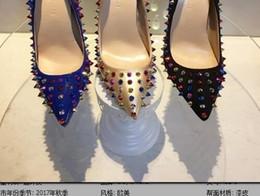 le ragazze nozze scarpe avorio Sconti Rivetti di vendita calde Red Bottom Women Tacchi alti, moda scarpe a punta appuntite appuntite, scarpe da sposa da donna