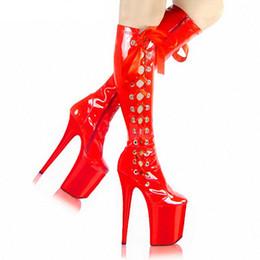 Modello di scarpe da ballo online-Scarpe con tacchi alti da 20 cm, scarpe da danza suole / scarpe modello stivali con tacco medio alti con tacco medio