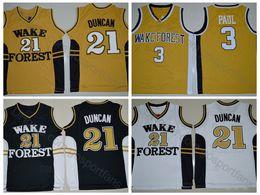 Baloncesto jersey amarillo negro online-Wake Forest Demon Diáconos Chris Paul Jersey 3 Tim Duncan Jersey 21 College Basketball Jerseys Universidad Negro Amarillo Cosido
