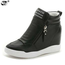 ea36beb970e autumn winter platform wedge heel boots Women Shoes with increased platform  sole female fashion casual zip botas 855
