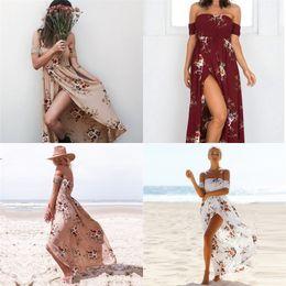 Mulheres da mama aberta on-line-Mulheres Impressão Vestido de Verão Praia Saia Flor Cuidados Com o Peito Garfo Abertura Vestidos Multi Tamanho 8 Cores de Moda de Férias 25 5oy D1