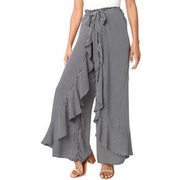 Pantalones cortos calientes online-Señoras de las mujeres del verano de rayas de pierna ancha pantalones de cintura alta pantalones largos ocasionales 2018 estilo más nuevo venta caliente de moda