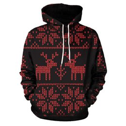 Женские рождественские блузки онлайн-Рождество пары толстовки женщины человек работает куртки 3D печати с длинным рукавом зимние толстовки топ Блузка рубашки #2N20