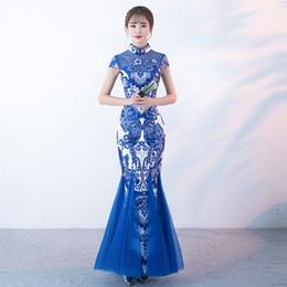 Robes de soirée blanches chinoises en Ligne-Bleu Blanc Porcelaine Traditionnelle Chinoise Robe De Soirée De Mode Sirène Longue Moderne Qipao Cheongsam Robes Orientales Sur Mesure