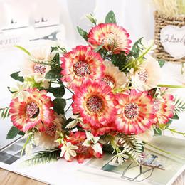 7,5 cm 7 ramo 7 testa Agra fiori di girasole Fiore di seta finta africana fiore artificiale per matrimonio fai da te vacanze Decorazione del partito decorazioni per la casa da