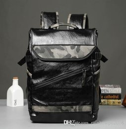 england college backpack Coupons - sales brand mens bags tide camouflage leather backpack backpack outdoor leisure travel The wind camouflage college students school