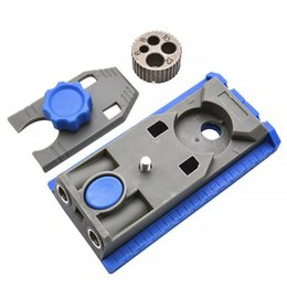 apriporta automatici Sconti Pilot Pocket Hole Woodworking Master System Drilling Guide Center Punch Marking Tool Dowel Jig