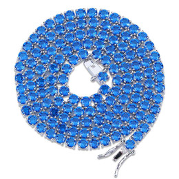 Sterling silber tennis halskette online-Hip Hop Iced Out Halskette, Auniquestyle Gold Silberfarben plattiert Micro Pave Rot Blau Kubikzircon Steine 4mm 1 Row Tennis Chain Halsketten