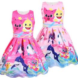 karikaturdruckkleidmädchen Rabatt Sommer Mädchen Kleider Kinder Hai Katze gedruckt Weste Kleid Mädchen Spitze Jacquard Prinzessin Kleid Mode Kinder Cartoon Anime Plissee Kleid F7889