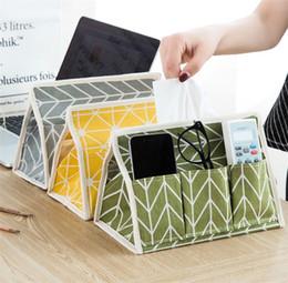 bolsa de tela de tejido Rebajas Caja de pañuelos de tela creativa Caja de bombeo de papel multifuncional con 6 bolsas Caja de almacenamiento de escritorio para oficina en casa