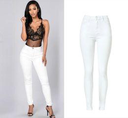 2019 la moda spinge i jeans Jeans donna vita alta Moda jeans elasticizzati bianchi Feminina Push Up Sexy Skinny Women Pantalon Femme di alta qualità la moda spinge i jeans economici