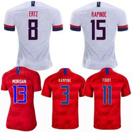 Camisas de futebol de qualidade eua on-line-Estados Unidos shirt 2019 2020 EUA PULISIC Soccer Jersey 19 20 Ertz PUGH MORGAN RAPINOE América Futebol jerseys qualidade Camisetas Thai