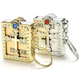 Anéis de ouro mini on-line-Moda Ouro Prata Cor Elétrica Mini Bíblia Sagrada Papel Em Miniatura Espiritual Cristão Jesus Chaveiro Chaveiro