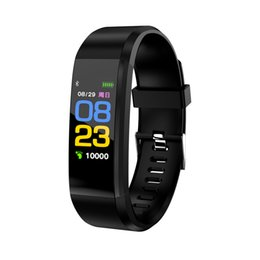 bracelet phones for kids Promo Codes - 115 Plus Smart Bracelet Color Screen Sport Wristband For iPhone IOS and Android Smart Phone Wearable Bracelets Heart Rate Touch Clock