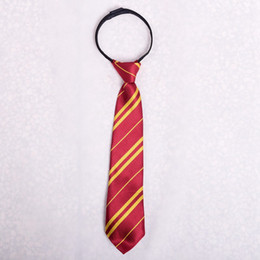 1pc Kids Harry Potter Ties Hogwarts Gryffindor / Slytherin / Hufflepuff Zip Striped Necktie Boys Girls Halloween Cosplay accesorio desde fabricantes