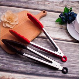 Stainless steel silicone food clip High temperature resistant non-slip bread clip barbecue clip household baking tools 9, 12, 14 inch