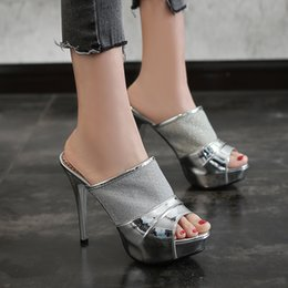 сетчатые тапочки оптом Скидка Оптовая стилет каблук лакированной кожи сетка женщина тапочки сандалии дизайнер леди сандалии для женщин на высоком каблуке 11 см обувь модные тапочки