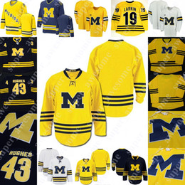 Camisetas de hockey de la universidad online-Michigan Wolverines College Hockey Jersey Quinn Hughes Will Lockwood Jake Slaker Nick Pastujov Josh Norris Strauss Mann Joseph Cecconi Raabe