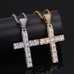 white gold cross necklace set Promo Codes - Hip Hop Square CZ Stone Setting Bling Iced Out Cross Pendants Necklace for Men Rapper Jewelry Gold Silver Necklace