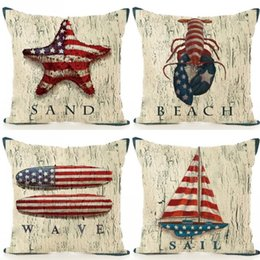 Household Decorative Throw Pillows Cases Print American Nation Flag Sailing  Boat Fishstar Life Ring Pillow Case Washable Cushion Cover 7qy B