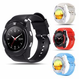 firefox телефоны Скидка Водонепроницаемый V8 мужские и женские умные спортивные часы Bluetooth SIM-карты телефона и камеры для Android / iOS новые умные часы