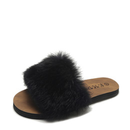 c8d426c7340 2018 Fashion Leisure Casual Comfy Fluffy Slides for Women Flat Winter Fur  Slippers Open Toe Anti-slip Warm House Shoes