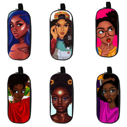 Caja de lápices de niños niñas online-Cartoon Student Pencil Case 12 Design Kids Big Capacity Afro Cartoon Girls Stationery Organizer Kids Wear Resistant Zipper Pencil Bag 06