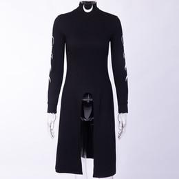 2019 robes minces modes Kinikiss 2019 Femmes Robe Noire Gothique Lune Sexy Robe Cou Cou Tortue Goth Mode Slim Micro-Élastique À Manches Longues Fête promotion robes minces modes