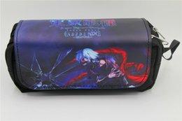 saco de cosméticos estilo caso de lápis Desconto Japão anime Tokyo Ghoul Pen Bag Anime de alta capacidade Duplo lápis saco de papelaria cosméticos sacos de maquiagem casos 2 estilo