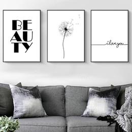 2019 quartos de pinturas abstratas Abstrato preto Dandelion Pintura Abstrata Cartaz Cópia Da Arte Da Lona Cartaz Cita Pinturas De Parede Para Quartos Pinturas Ao Vivo quartos de pinturas abstratas barato