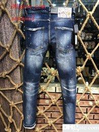 nuevo diseño de moda de marca pantalón Rebajas 2019 Nueva marca de moda clásica D2 jeans Hombres con estilo Patchwork Jeans Zipper Cremallera Bolsillos diseño Vogue Casual Skinny Denim Pant