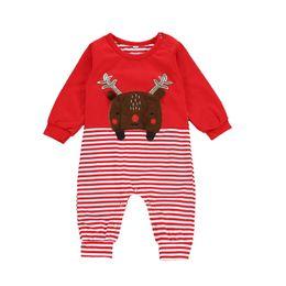 Mameluco caliente bebé online-Baby Boy Cartoon Romper Merry Christmas Theme Mono a rayas Onesies Ropa de diseñador para niños Niños Baby Deer Manga larga Body cálido 06