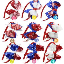 fascia di giorno dell'indipendenza Sconti 9 colori Bandiera americana Giorno dell'Indipendenza Neonate grandi Fiocchetto Fascia per bambini Stelle striscia per capelli Bastoncini per capelli Accessori per capelli Boutique C33