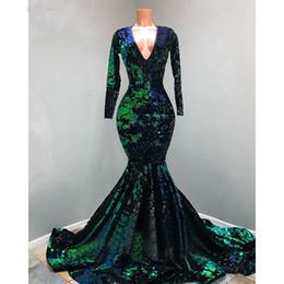 Profundo decote em v longo sereia vestidos de baile nova manga comprida até o chão de lantejoulas simples vestido de festa formal vestidos de festa de